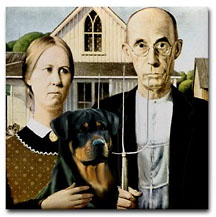 Rottweiler in famous painting american gothic