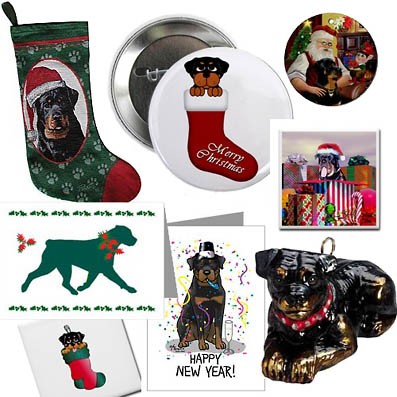 Several rottweiler christmas designs